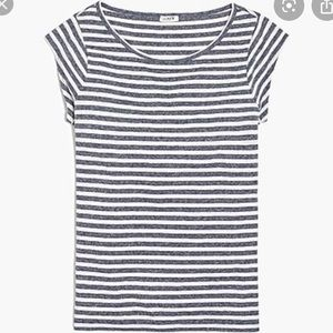J. Crew Striped Linen Blend Top